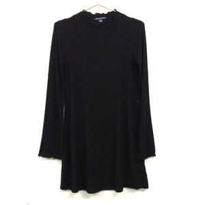 AEO Ruffle Knit Sweater Dress Black Mockneck Small